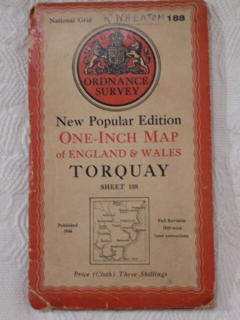 1946 Ordnance Survey One Inch Cloth Map - Torquay sheet 188