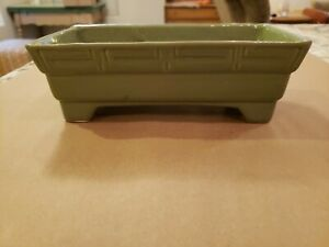 """Vintage Brush Pottery 9"""" Green Pattern Basket Planter 109-8 Mid-Century Footed"""