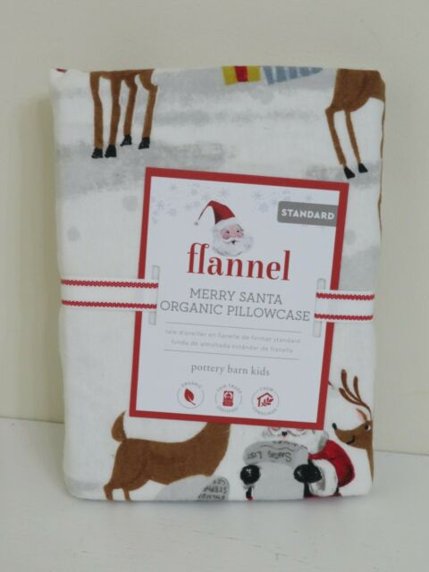 POTTERY BARN KIDS HOLIDAY MERRY SANTA STANDARD PILLOW CASE NEW FLANNEL