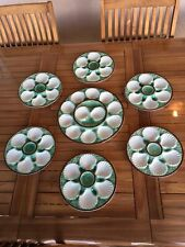ANTIQUE SET FRENCH LONGCHAMP MAJOLICA 6 OYSTER PLATES + PLATTER