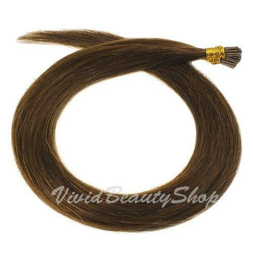 200 I Stick Tip Micro Bead Straight Remy Human Hair Extensions Chestnut Brown #6