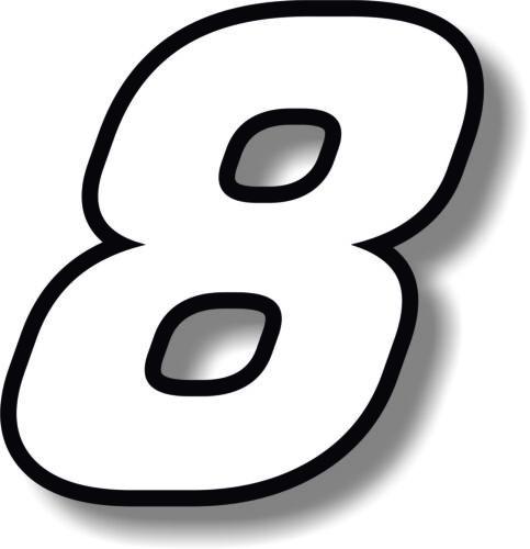 RACE NUMERI CON BORDO NERO Numero Adesivo//Vinile//GRAFICA BIANCO 2 in ca. 5.08 cm COPPIA