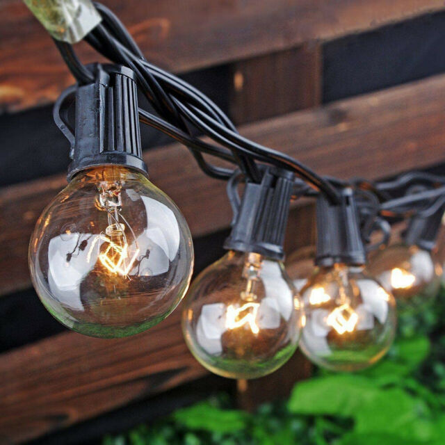 Moonflor 50ft G40 Patio String Lights, Clear Patio String Lights