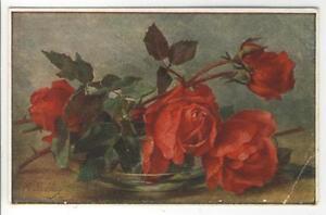 AK M. Billing, Glasschale mit roten Rosen, Feldpost 1917 - Karnabrunn, Österreich - AK M. Billing, Glasschale mit roten Rosen, Feldpost 1917 - Karnabrunn, Österreich