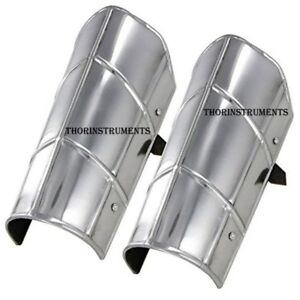 Armor-Greaves-Medieval-Functional-Knights-Leg-Armour-Steel-Chorme-Finish