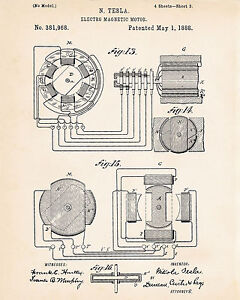 Image Is Loading 1888 Nikola Tesla Inventions Electromagnetic Motor Generator Patent