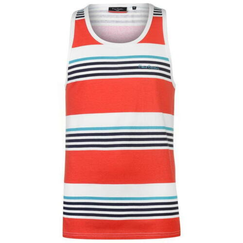 Mens Pierre Cardin Lightweight Printed Stripe Vest Top Sizes from S to XXL