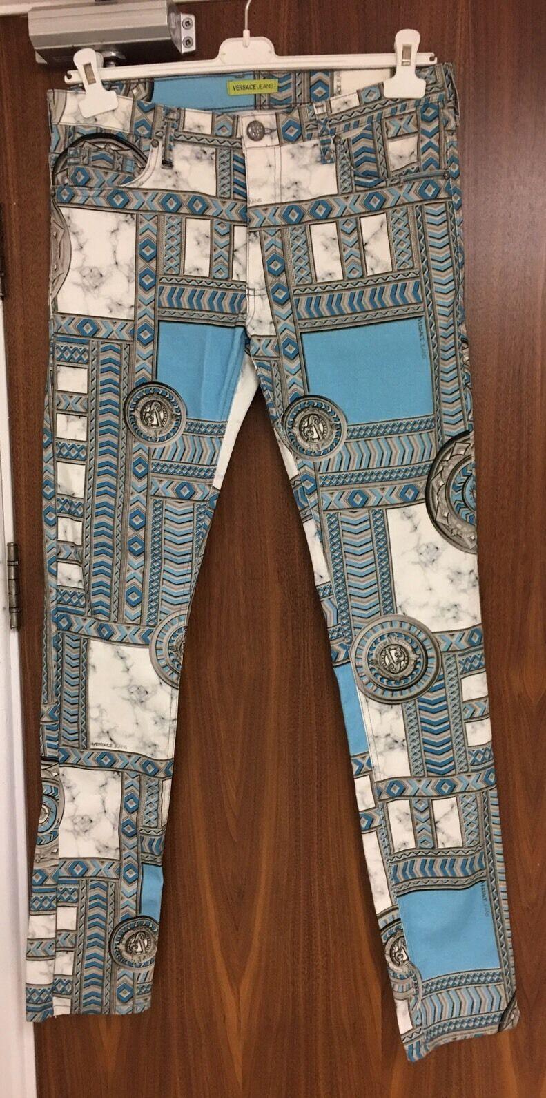 Versace Jeans grau & Blau Baroque Print Trousers W34