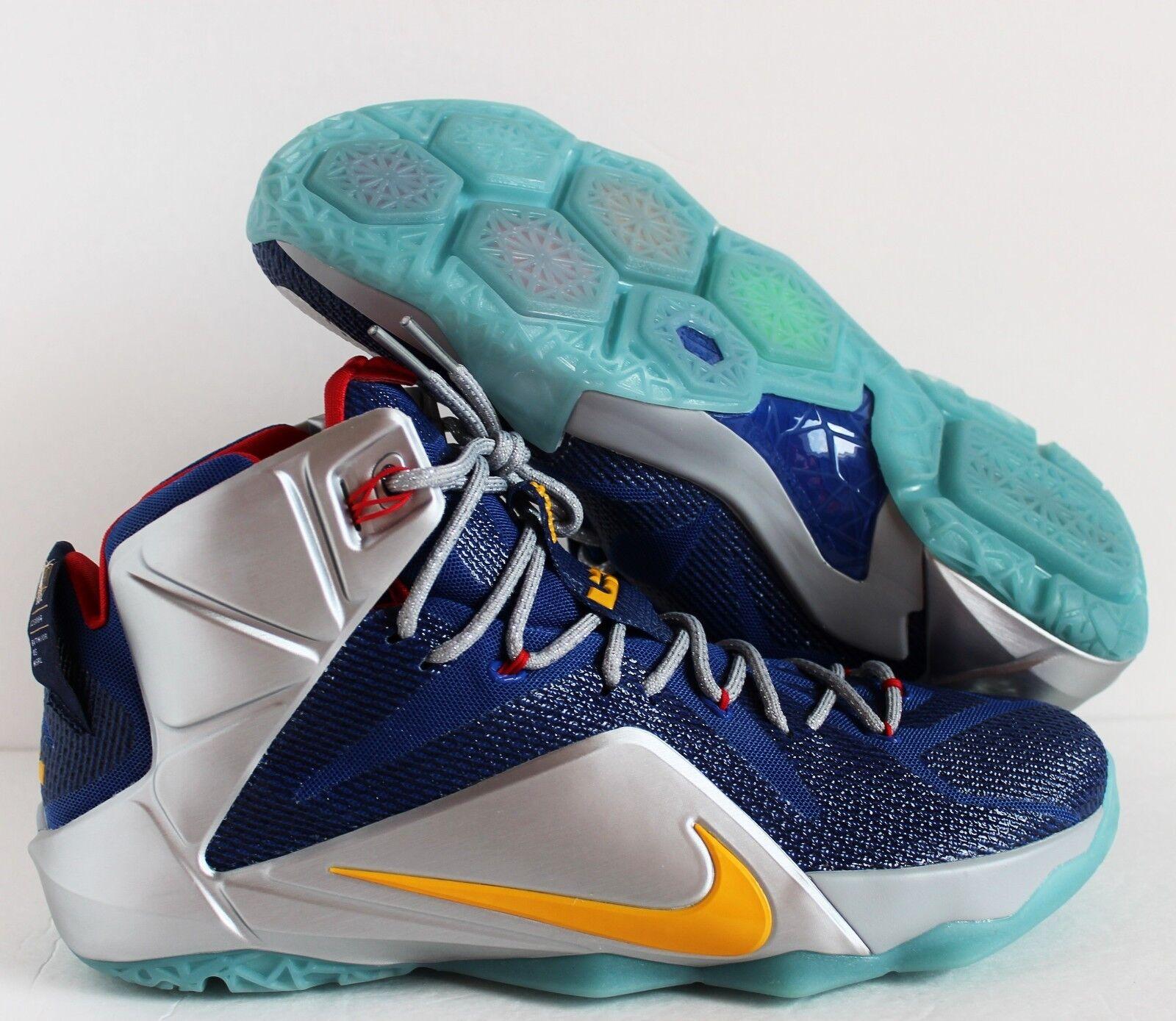 Nike Men Lebron Grey XII 12 iD Blue Grey Lebron Silver SZ 14 ( 728709-981 ) b93714