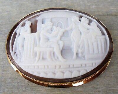 18 K Brosche Muschelkamee Mit Mythologischer Szene,750 Gold Zielsetzung Antik Anhänger