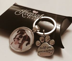 Personalised-Photo-Keyring-Paw-Prints-Cat-Dog-Pet-Memory-Loss-Present-Gift-Box