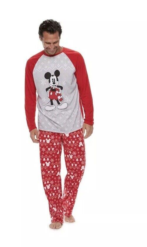 Nwt Mens Größe Medium M Mickey Mouse 2 Piece Pajamas Loungewear Long Sleeve