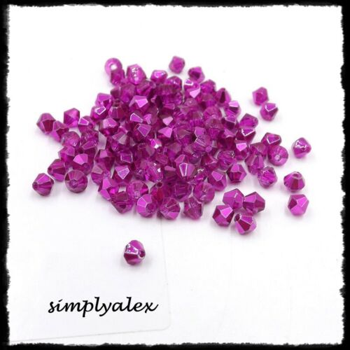 100 Glasschliffperlen 3mm pink metallic Bicone Doppelkegel