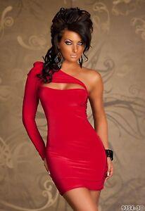 Sexy-langarm-One-Shoulder-Minikleid-Stretch-Kleid-Partykleid-Rot-Gr-S-M-34-36