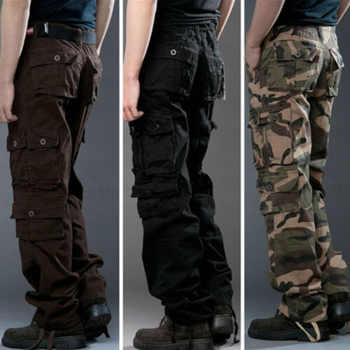 Uomo pantalone cargo JEANS CARGO pant army militare chino lavoro pantaloni casual