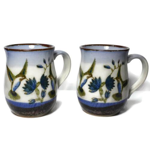 Stoneware 11 oz Hummingbird Coffee Cup Mug Flowers Hummingbirds Lot of 2