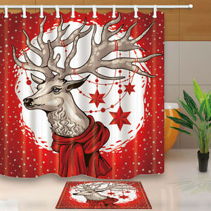Image Is Loading Christmas Reindeer Shower Curtain Waterproof Polyester Fabric Amp