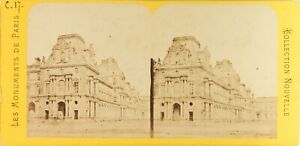 FRANCE-Paris-Le-Louvre-Photo-PL61n-Stereo-Vintage-Albumine-ca-1870