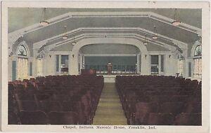 c1920-FRANLIN-Indiana-Ind-Postcard-MASONIC-HOME-Chapel-INTERIOR