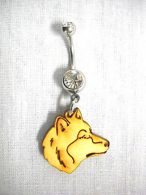 NEW WOLF HEAD DREAM CATCHER WITH 2 EXTRA FEATHERS 14g CLEAR CZ NAVEL BELLY RING