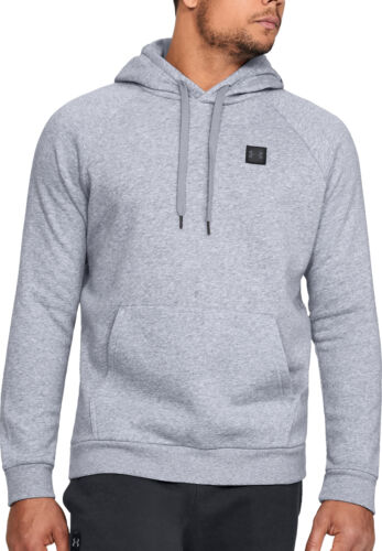 Under Armour Rival Mens Fleece Hoody Grey Stylish Gym Training Workout Hoodie
