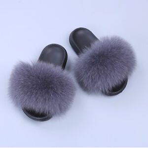 078b1ff3786b Brand New Flat Women Real Fox Raccoon Fur Sliders Slippers Indoor ...