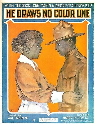 He draws no color line  sheet music cover art poster tin accent