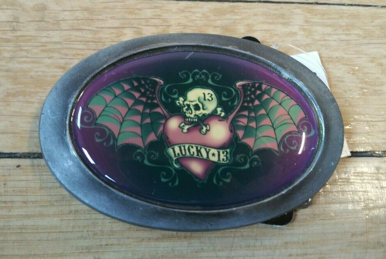 Lucky 13 brand alternative Purple Skull and Heart with Bat Wings Belt Buckle
