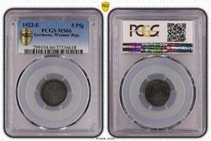 5 Pfennig 1922 E Brilliant Uncirculated PCGS Certified MS66 (36802)