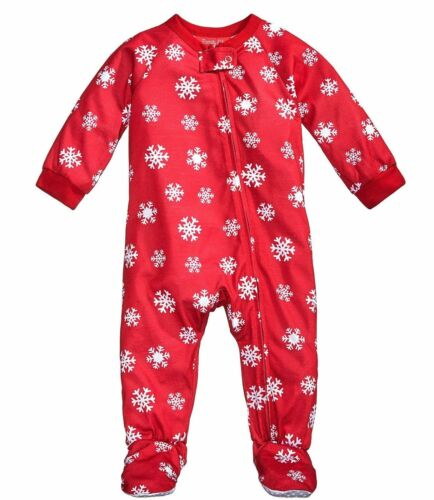 Baby Christmas Footie Pajamas 24 Months #7786 Family PJs Red Snowflake Infant