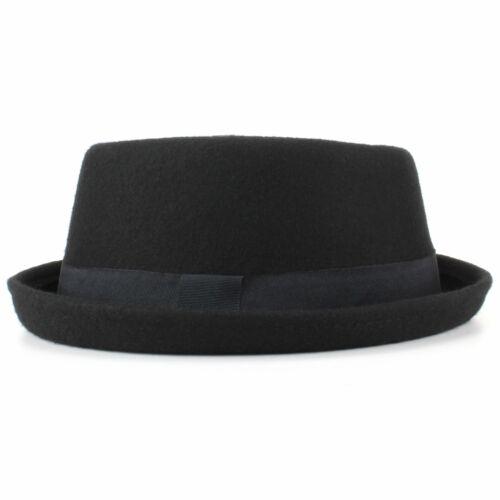 Laine Chapeau 100 Noir Bande Bordure Neuf Rétro Hawkins Hiver Rond