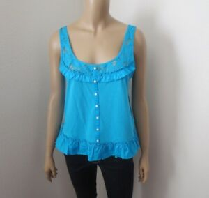 NEW Gilly Hicks by Abercrombie Ruffle Tank Top Size Medium Turquoise Blue