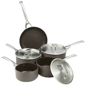 VonShef Hard Anodised 5pc Pan Set Non Stick Induction Suitable Easy Clean