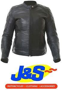 12 BKS Retro Ladies Leather Motorcycle Jacket Womens Black J/&S