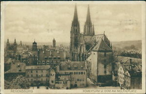 Ansichtskarte Regensburg Römerturm Dom am Moltkeplatz 1918  (Nr.9056)
