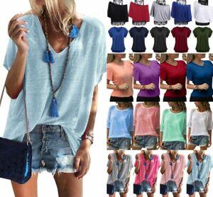 Women-Summer-Short-Sleeve-Loose-Lady-Summer-Casual-Blouse-T-Shirt-Tunic-Tee-Tops