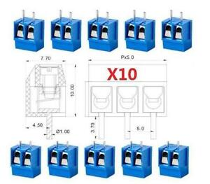 10pcs KF301-2P 2 Position 5.08mm PCB Screw Terminal Block Connectors 250V 16A \