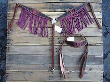 WESTERN HEADSTALL BREAST COLLAR PINK FRINGE BARREL HORSE LEATHER BRIDLE TACK SET