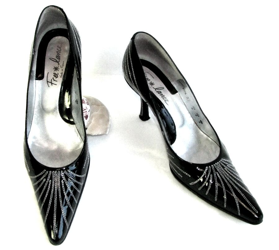 FREE LANCE Court shoes heels 8 cm all black patent leather silver 37