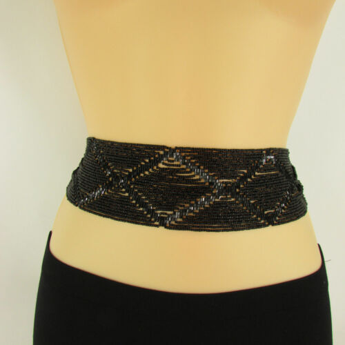 Women Classic Moroccan Black Beads Tie Trendy Belt Waist Hip Plus Size M L XL
