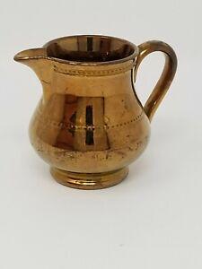 Vintage Copper Clad Ceramic Lusterware Pitcher Creamer