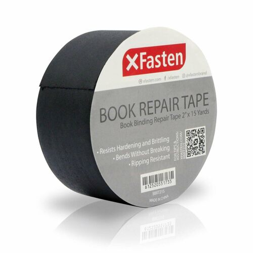 XFasten Book Binding Repair Tape 2-Inch by 15-Yard Black
