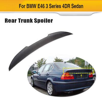 3D GLOSS REAL TWILL CARBON FIBER TRUNK LID GRIP COVER TRIM 98-05 BMW E46 SEDAN