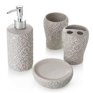 Set accessori arredo bagno da appoggio 4 pezzi in ceramica tortora shabby