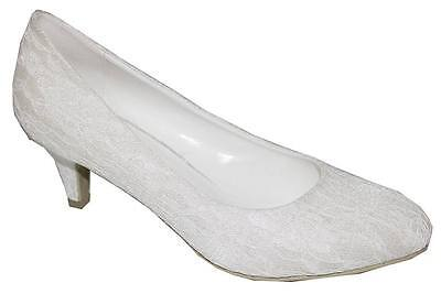 WOMENS LADIES IVORY SATIN & LACE LOW HEEL BRIDAL WEDDING SHOES SIZE 3 - 8 UK