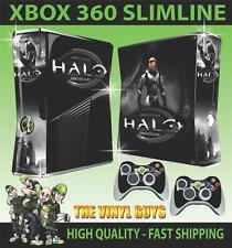 XBOX 360 SLIM HALO ANNIVERSARY 001 STICKER SKIN COVER & 2 PAD SKINS