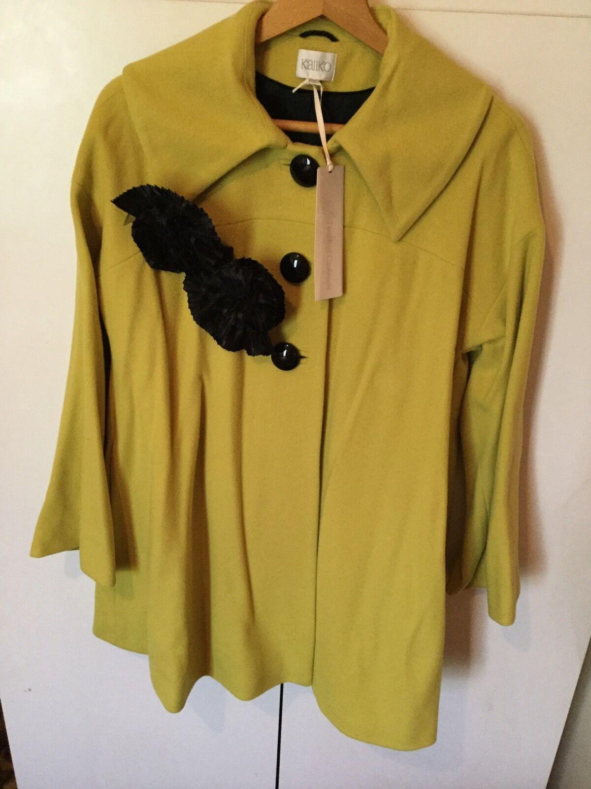 NWT Designer KALIKO Wool And Cashmere Blend pinktte Detail Coat-Fit
