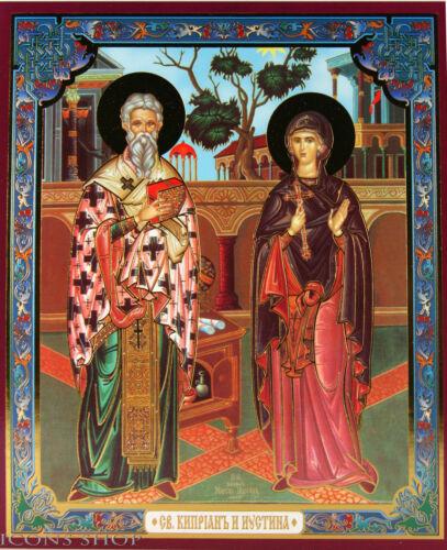 the Holy Cyprian and Justina icon Святые Киприан и Иустина икона 15X18cm Ikone