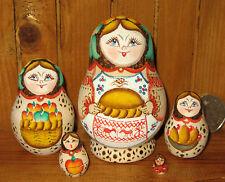 Dalla russia NIDIFICAZIONE bambole piccola 5 dipinto a mano Pirografia MATRIOSKA