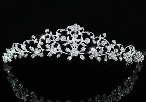 Gold or Silver Flower Swarovski Crystal Faux Pearl Wedding Bridal Tiara Headband